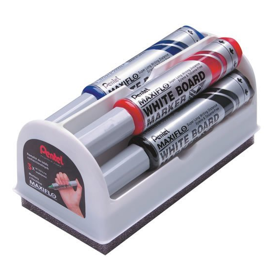 Набор маркеров для белых досок Pentel с губкой
